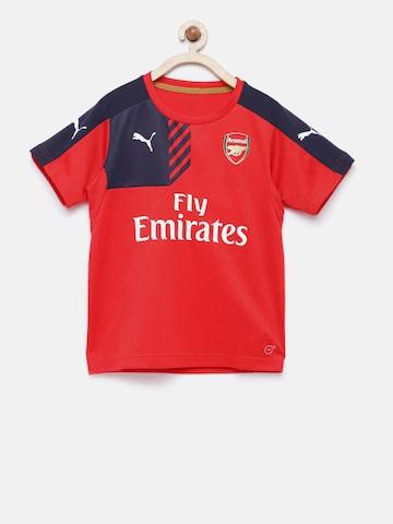 Puma Boys Red & Navy Colourblocked AFC Training Jersey Anthracite T-shirt Puma Tshirts at myntra