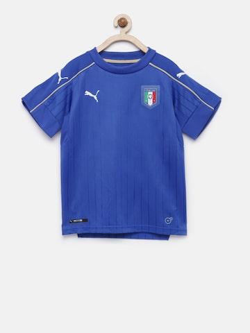 Puma Boys Blue FIGC Italia Self Design T-shirt Puma Tshirts at myntra