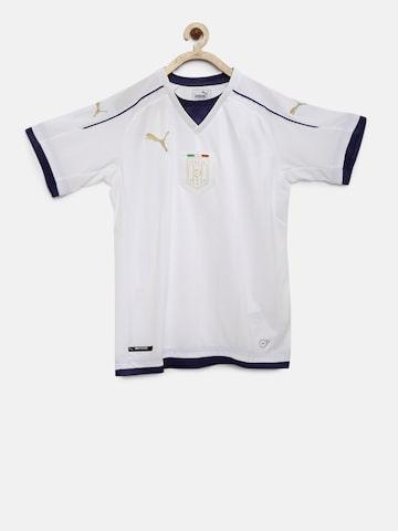 Puma Boys White Solid V-Neck FIGC Italia T-shirt Puma Tshirts at myntra