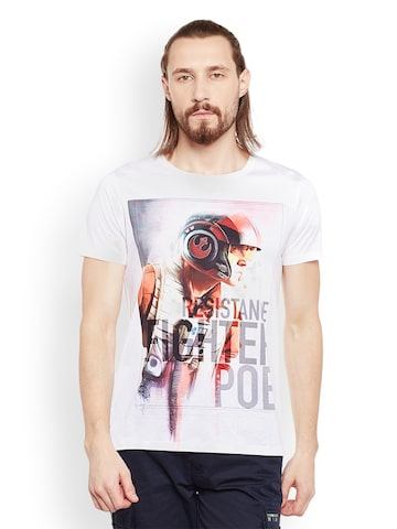 STAR WARS Men White Printed Round Neck T-shirt STAR WARS Tshirts at myntra