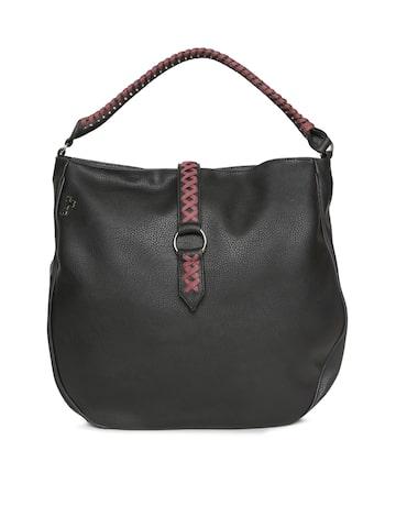 Baggit Black Solid Hobo Bag Baggit Handbags at myntra