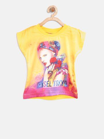 Tiny Girl Yellow Printed Top Tiny Girl Tops at myntra