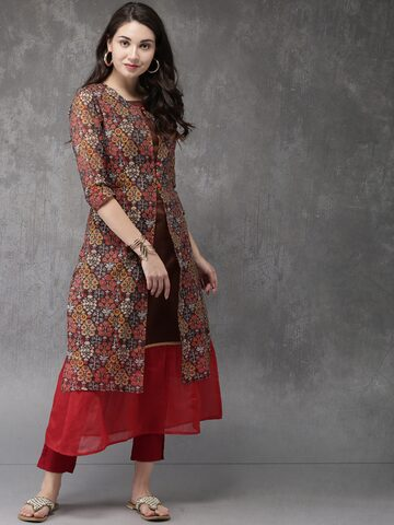 Anouk Women Brown Printed A-Line Kurta Anouk Kurtas at myntra