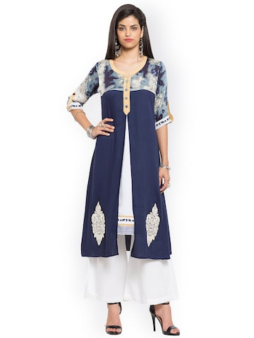 Nikhaar Women Blue Embroidered Straight Kurta Nikhaar Kurtas at myntra