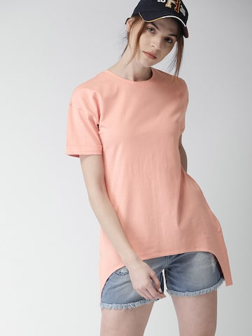 Harvard Women Pink Solid Round Neck Longline T-shirt Harvard Tshirts at myntra