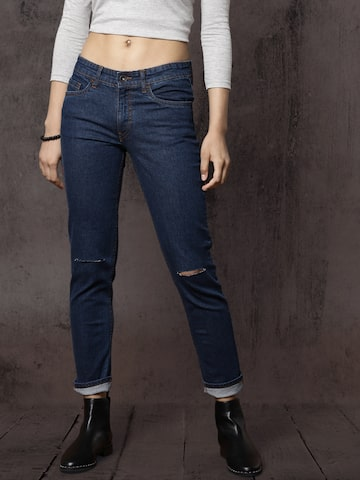 Roadster Women Blue Skinny Fit Mid-Rise Slash Knee Stretchable Jeans Roadster Jeans at myntra