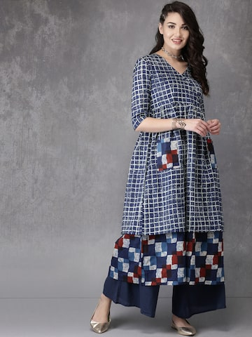 Anouk Women Navy & Off-White Printed A-Line Kurta Anouk Kurtas at myntra