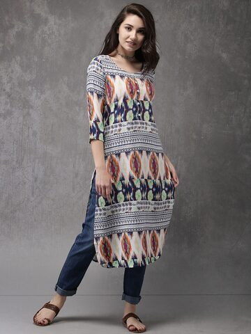 Anouk Women Blue & White Printed A-Line Kurta Anouk Kurtas at myntra