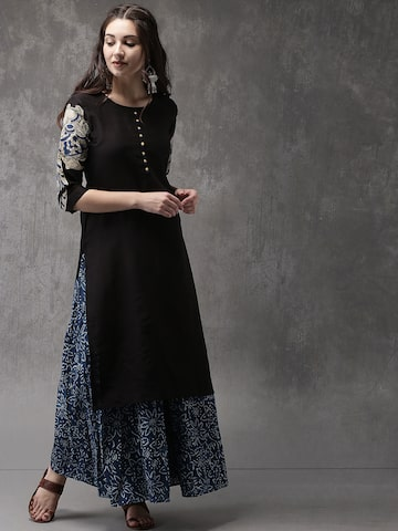 Anouk Women Black Solid Straight Kurta Anouk Kurtas at myntra