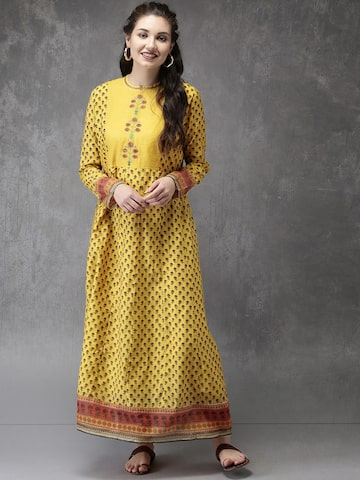 Anouk Women Yellow Printed A-Line Kurta Anouk Kurtas at myntra