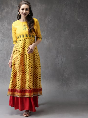 Anouk Women Yellow & Red Printed Panelled A-Line Kurta Anouk Kurtas at myntra