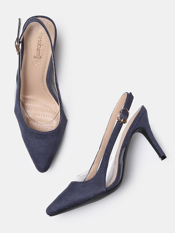 DressBerry Women Navy Blue Textured Pumps DressBerry Heels at myntra