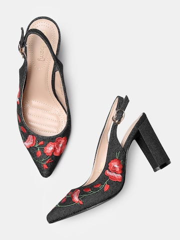 DressBerry Women Black Embroidered Pumps DressBerry Heels at myntra