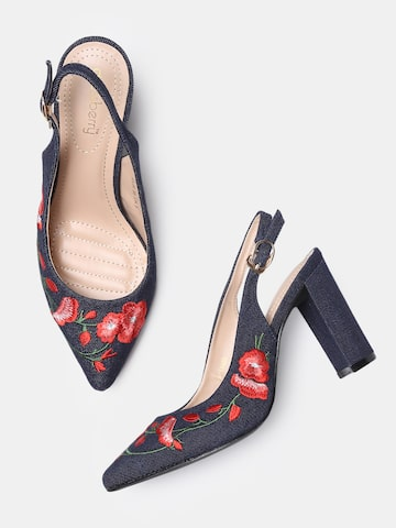 DressBerry Women Navy Blue Embroidered Pumps DressBerry Heels at myntra