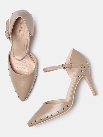 DressBerry Women Taupe Embellished Pumps DressBerry Heels at myntra