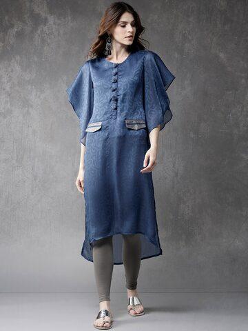 Anouk Women Blue Woven Design Straight Kurta Anouk Kurtas at myntra