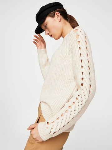 MANGO Women Off-White Ribbed Sweater MANGO Sweaters at myntra