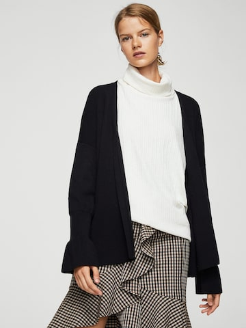 MANGO Women Black Solid Front-Open Cardigan MANGO Sweaters at myntra