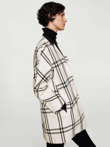 MANGO Off-White Checked Longline Coat MANGO Coats at myntra