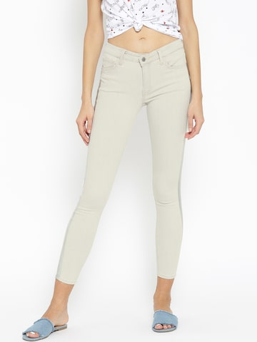 MANGO Women Light Grey Regular Fit Mid-Rise Clean Look Cropped Stretchable Jeans MANGO Jeans at myntra