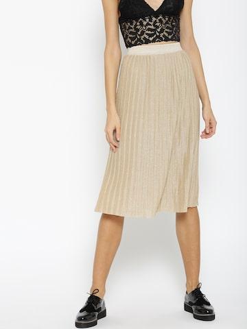 MANGO Beige Shimmer Midi Flared Skirt with Accordion Pleats MANGO Skirts at myntra