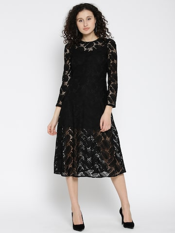 MANGO Women Black Lace A-Line Dress MANGO Dresses at myntra