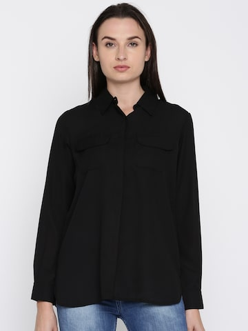 French Connection Women Black Regular Fit Solid Casual Shirt French Connection Shirts at myntra