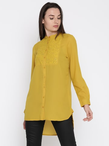 French Connection Women Mustard Yellow Regular Fit Longline Shirt French Connection Shirts at myntra