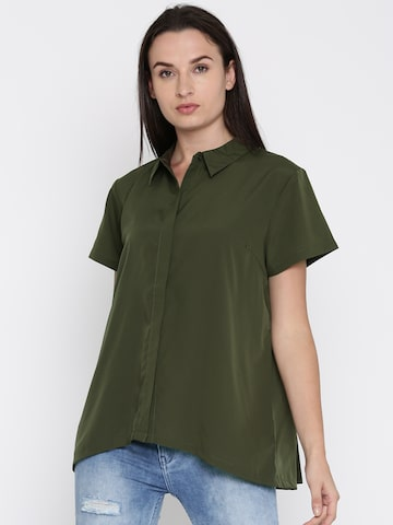 French Connection Women Olive Green Regular Fit Solid Casual Shirt French Connection Shirts at myntra
