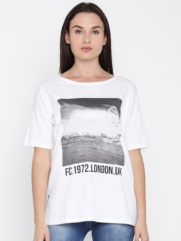 French Connection Women White Printed Round Neck T-shirt French Connection Tshirts at myntra