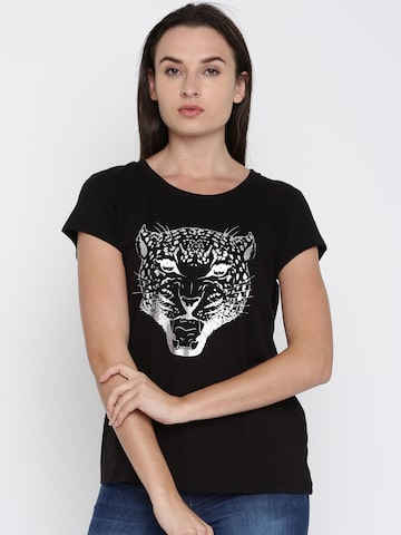 French Connection Women Black Printed T-shirt French Connection Tshirts at myntra