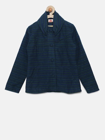 UFO Girls Teal Blue & Green Striped Tailored Jacket UFO Jackets at myntra