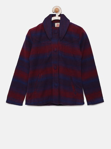 UFO Girls Red & Blue Striped Tailored Jacket UFO Jackets at myntra