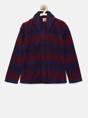 UFO Girls Red Striped Striped Tailored Jacket UFO Jackets at myntra