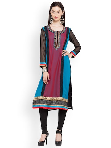 Nikhaar Women Black & Red Embroidered Straight Kurta Nikhaar Kurtas at myntra