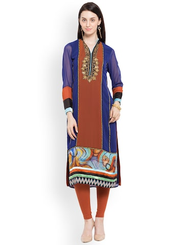 Nikhaar Women Blue & Rust Red Embroidered Straight Kurta Nikhaar Kurtas at myntra