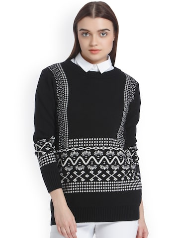 Vero Moda Women Black & Cream-Coloured Printed Pullover Vero Moda Sweaters at myntra