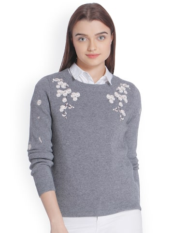 Vero Moda Women Grey Self Design Pullover Vero Moda Sweaters at myntra