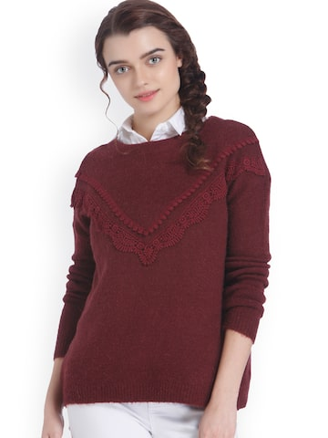 Vero Moda Women Burgundy Solid Top Vero Moda Tops at myntra
