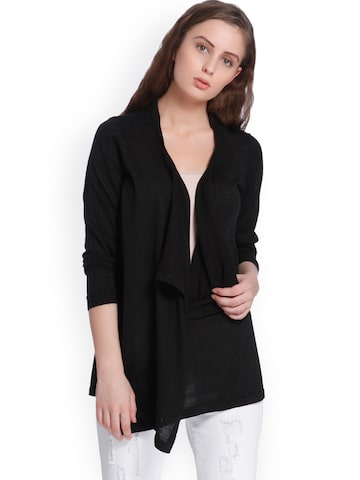 Vero Moda Black Solid Waterfall Shrug Vero Moda Shrug at myntra