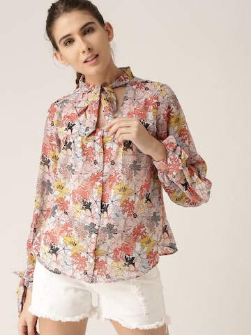 DressBerry Women Cream-Coloured & Pink Regular Fit Printed Casual Shirt DressBerry Shirts at myntra