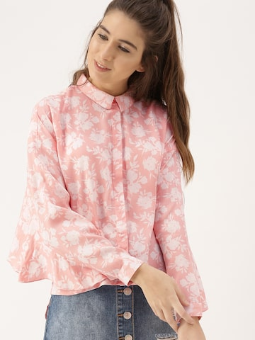 DressBerry Women Peach-Coloured Printed High-Low Hem Shirt DressBerry Shirts at myntra