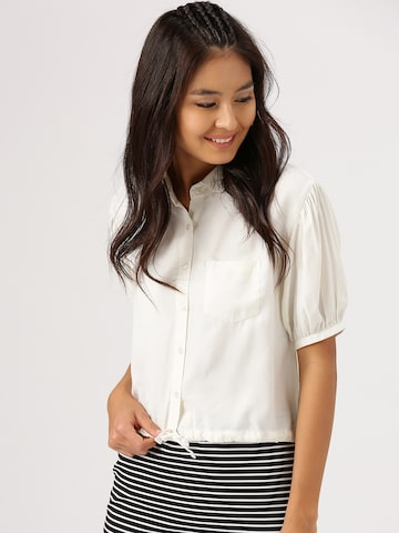 DressBerry Women Off-White Solid Crop Casual Shirt DressBerry Shirts at myntra