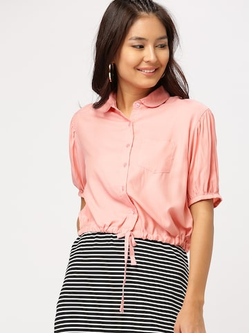 DressBerry Women Peach-Coloured Solid Crop Casual Shirt DressBerry Shirts at myntra