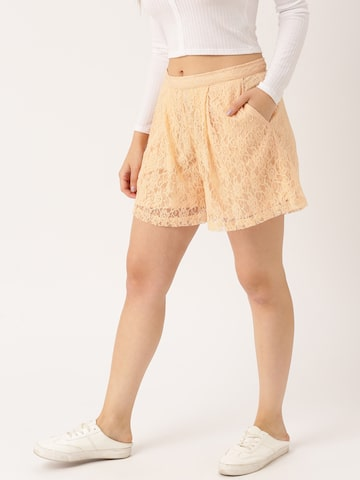 DressBerry Women Peach-Coloured Self Design Loose Fit Lace Regular Shorts DressBerry Shorts at myntra