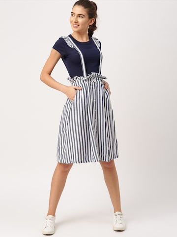 DressBerry Blue & White Striped A-Line Skirt DressBerry Skirts at myntra