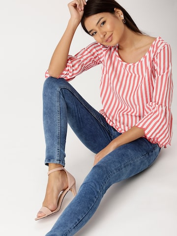 DressBerry Women Coral Red & White Striped Top DressBerry Tops at myntra
