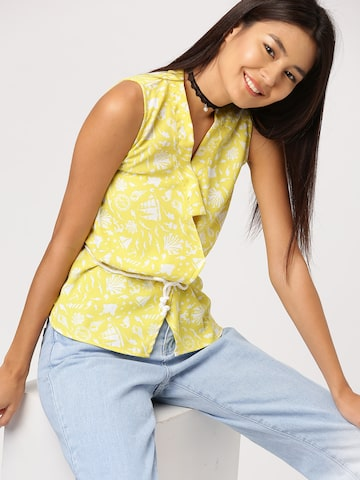 DressBerry Women Yellow Printed Top DressBerry Tops at myntra