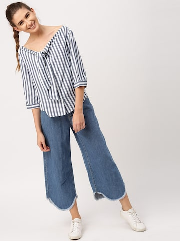 DressBerry Women White & Blue Striped Shirt Style Top DressBerry Tops at myntra