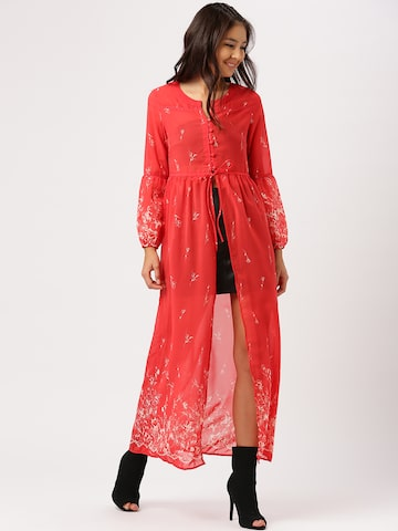 DressBerry Women Red Printed Sheer Longline Top DressBerry Tops at myntra